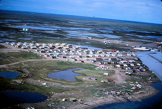 Arial view of Arviat, Nunavut in summer