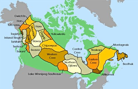 Canadian Western Sub-Arctic Tribes Map