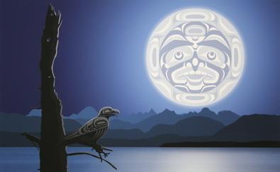 Inuit Moon in the night Sky.